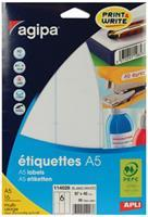 Agipa witte etiketten Print & Write ft 97 x 46 mm (b x h), 96 stuks, 6 per blad