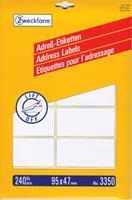 Avery Zweckform 3350 adresetiketten ft 95 x 47 mm (b x h), 240 etiketten, wit