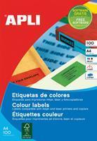 Apli Gekleurde etiketten Ft 105 x 148 mm (b x h), blauw, 80 stuks, 4 per blad, etui van 20 blad