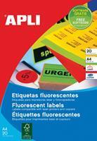 Apli fluo etiketten 210 x 297 mm (b x h) rood