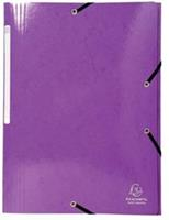 Exacompta Iderama elastomap met 3 kleppen, met rugetiket, paars