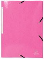 Exacompta Iderama elastomap met 3 kleppen, met rugetiket, roze