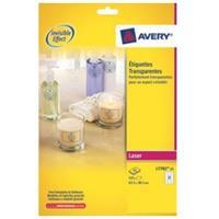 Avery transparante Crystal Clear etiketten ft 63,5 x 38,1 mm, 525 etiketten, 21 per blad