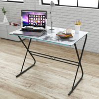 VidaXL Glazen bureau met wereldkaart-patroon