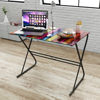 Glazen bureau met regenboogpatroon