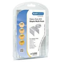 Rapesco nietjes 923 (8 mm, 10 mm, 12 mm en 13 mm) verzinkt, multi pack doosje met 3200 nietjes