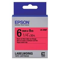 Epson LK-2RBP tape zwart op pastel rood 6mm (origineel)