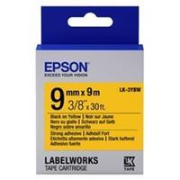 Epson LK-3YBW extra klevende tape zwart op geel 9mm (origineel)