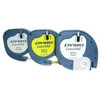 Dymo LetraTAG tape 12 mm, set 3 tape: 1 x papier wit, 1 x plastic geel en 1 x metallic zilver