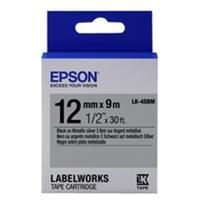 Epson LK-4SBM tape zwart op metallic zilver 12mm (origineel)
