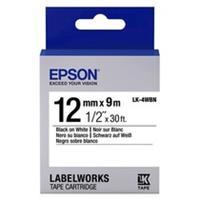 Epson LK-4WBN standard tape zwart op wit 12mm (origineel)