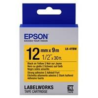 Epson LK-4YBW extra klevende tape zwart op geel 12mm (origineel)
