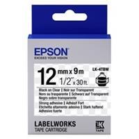 Epson LK-4TBW extra klevende tape zwart op transparant 12mm (origineel)