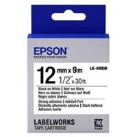 Epson LK-4WBW extra klevende tape zwart op wit 12mm (origineel)