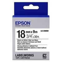 Epson LK-5WBW extra klevende tape zwart op wit 18mm (origineel)