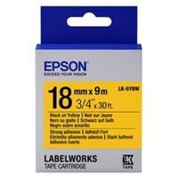 Epson LK-5YBW extra klevende tape zwart op geel 18mm (origineel)