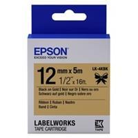 Epson LK-4KBK satijnlint tape zwart op goud 12mm (origineel)