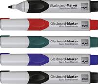 Sigel glasboardmarker  2-3mm ronde punt 5 stuks in etui assorti