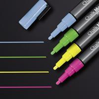 Sigel krijtmarker  1-2mm afwasbaar roze/groen/geel/blauw