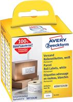 Avery Zweckform Avery-Zweckform Etiketten (rol) 89 x 36 mm Papier Wit 520 stuks Permanent AS0722400 Adresetiketten