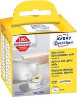 Avery Zweckform Avery-Zweckform Etiketten (rol) 89 x 36 mm Papier Wit 260 stuks Permanent ASS0722400 Adresetiketten