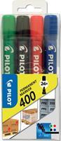 Pilot permanent marker 400, blister met 4 stuks in geassorteerde kleuren