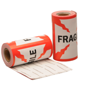 Fragile label, 101,6mm x 101,6mm, 100 etiketten, permanent