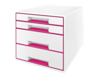leitz WOW Cube ladenset. A4 Maxi. 4 laden. 287 x 270 x 363 mm. wit en metallic roze
