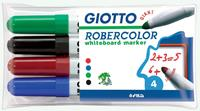 Giotto Robercolor whiteboardmarker maxi, ronde punt, etui met 4 stuks in geassorteerde kleuren