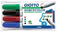 Giotto Robercolor whiteboardmarker maxi, schuine punt, etui met 4 stuks in geassorteerde kleuren