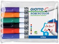 Giotto Robercolor whiteboardmarker, medium, ronde punt, etui met 6 stuks in geassorteerde kleuren
