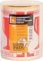 Cleverpack etiketten breekbaar, pak van 250 stuks