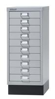 Bisley ladekast, ft 67 x 27,9 x 40,8 (h x b x d), 10 laden, zilver