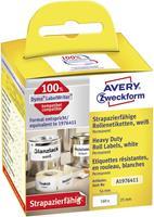 Avery Zweckform Avery-Zweckform Etiketten (rol) 25 x 54 mm Folie Wit 160 stuks Permanent A1976411 Universele etiketten