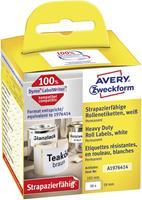 Avery Zweckform Avery-Zweckform Etiketten (rol) 59 x 102 mm Folie Wit 50 stuks Permanent A1976414 Universele etiketten