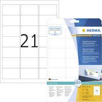 Herma 5074 Etiketten (A4) 63.5 x 38.1 mm Papier Wit 525 stuks Weer verwijderbaar Universele etiketten, Adresetiketten Inkt, Laser, Kopie