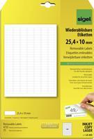 Sigel LA202 Etiketten (A4) 25.4 x 10 mm Papier Wit 4725 stuks Weer verwijderbaar Universele etiketten