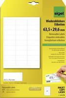 Sigel LA210 Etiketten (A4) 63.5 x 29.6 mm Papier Wit 675 stuks Weer verwijderbaar Universele etiketten