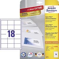 Avery Zweckform Avery-Zweckform Universele etiketten 6171 (),Wit, Rechthoek, 540 stuks, Permanent