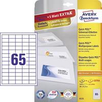 Avery Zweckform 6121, Universele etiketten, Ultragrip, wit, 25+5 vellen, 65 per vel, 38 x 212 mm