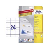 Avery Zweckform Avery-Zweckform 3474-10 Etiketten (A4) 70 x 37 mm Papier Wit 240 stuks Permanent Universele etiketten Inkt, Laser, Kopie