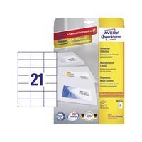 Avery Zweckform Avery-Zweckform 3652-10 Etiketten (A4) 70 x 42.3 mm Papier Wit 210 stuks Permanent Universele etiketten Inkt, Laser, Kopie