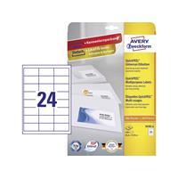 Avery Zweckform Avery-Zweckform 3658-10 Etiketten (A4) 64.6 x 33.8 mm Papier Wit 240 stuks Permanent Universele etiketten Inkt, Laser, Kopie