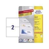 Avery Zweckform Avery-Zweckform 3655-10 Etiketten (A4) 210 x 148 mm Papier Wit 20 stuks Permanent Universele etiketten Inkt, Laser, Kopie