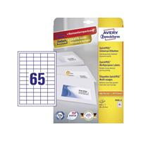 Avery Zweckform Avery-Zweckform 3666-10 Etiketten (A4) 38 x 21.2 mm Papier Wit 650 stuks Permanent Universele etiketten Inkt, Laser, Kopie