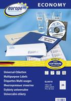 Europe100 Europe 100 ELA010 Etiketten (A4) 70 x 36 mm Papier Wit 2400 stuks Permanent Universele etiketten Inkt, Laser, Kopie