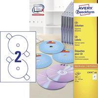 Avery Zweckform Avery-Zweckform L7676-100 Etiketten (A4) Ã 117 mm Papier Wit 200 stuks Permanent CD-etiketten Inkt, Laser
