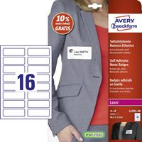 Avery Zweckform Badge etiket  88,9x31mm 22 vel 16 etiketen per vel wit