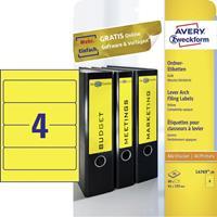 Avery Zweckform Rugetiket Avery breed 61x192mm zelfklevend geel