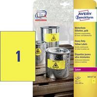 Avery Zweckform Avery L6111-20 Geel Zelfklevend printerlabel printeretiket